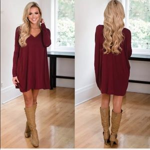 Tops - Jersey knit Red Loose long tops mini flare dress